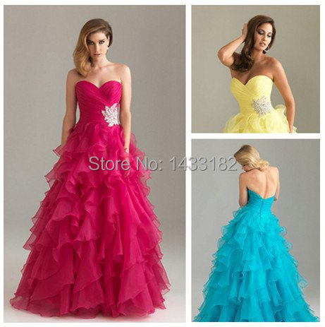 Floor Length Hot Design Organza Sweetheart Western Style Prom Dresses Cheap Prom Gowns For Party 2012(China (Mainland))