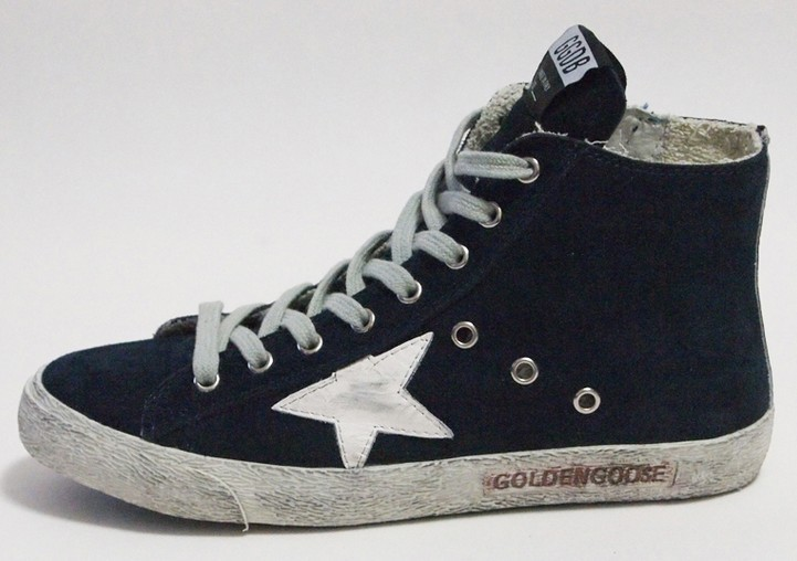 Здесь можно купить   GOLDEN GOOSE Francy Suede High Top Trainers Navy Blue Men Women Shoes  Обувь