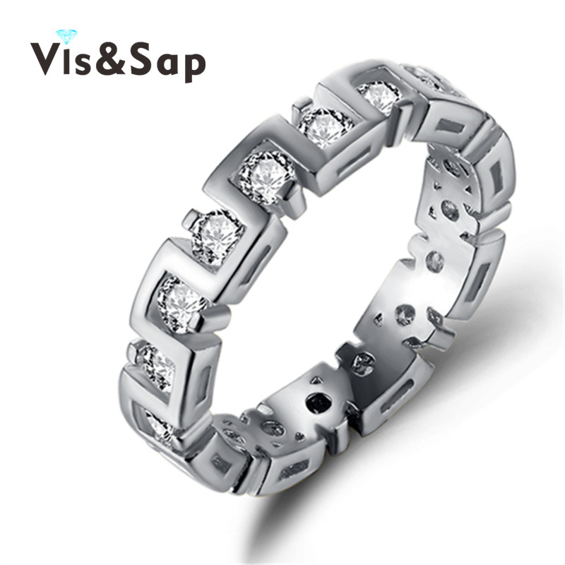 18k White gold plated rings punk bands CZ diamond Rings For Men women Wedding engagement bague Bijoux fashion jewelry VSR246(China (Mainland))