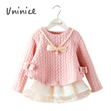 2016 New Girl Spring Autumn Sweatshirts Children Corlorful Fashion Outwear With Pearl&Bow  Necklace UNINICE BRAND Clothing(China (Mainland))
