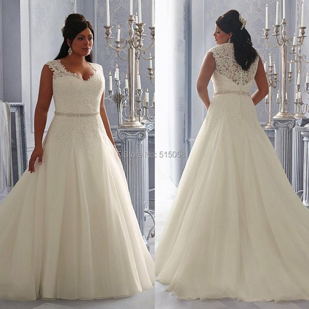 Princess Style Wedding Dress: Vintage V Neck Lace Appliques Princess Style Wedding