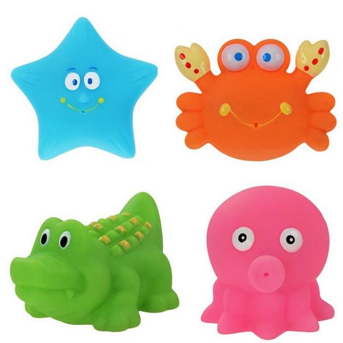 4pcs Baby Bath Squirters Toy Soft Plastic Bath Tub Water Spraying Toys Classic Educational Toy(China (Mainland))