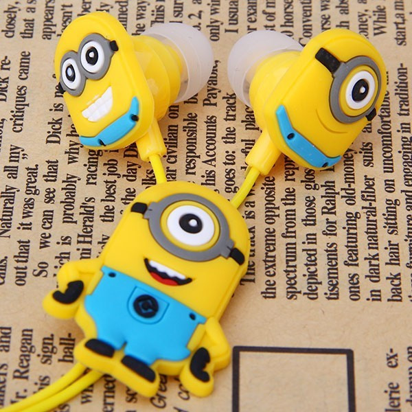 china 3.5mm In-ear earbuds cheap minions headphones kids earphones for iPhone 6 Mobile Phones MP3 MP4(China (Mainland))