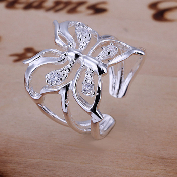 FSR035 Sterling Silver 925 Zircon Butterfly Ring Wholesale Sterling Silver 925 Jewellery Free Shipping