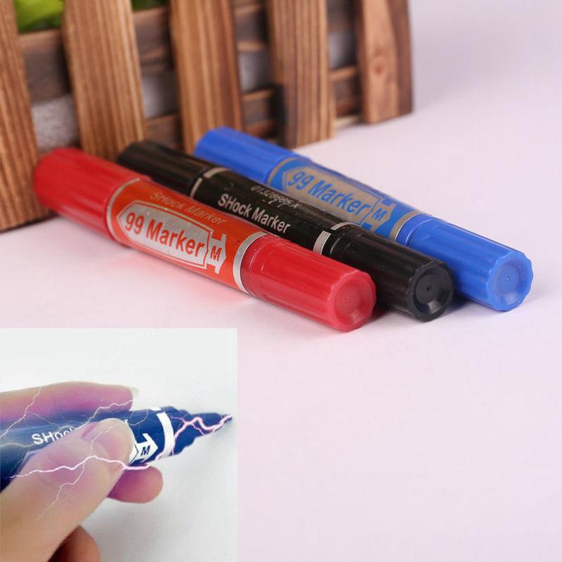 Fashion Practical Joke Prank Electric Shock Trick Marker Pen Funny Toy Gift 2016 NEW ARRIVE(China (Mainland))