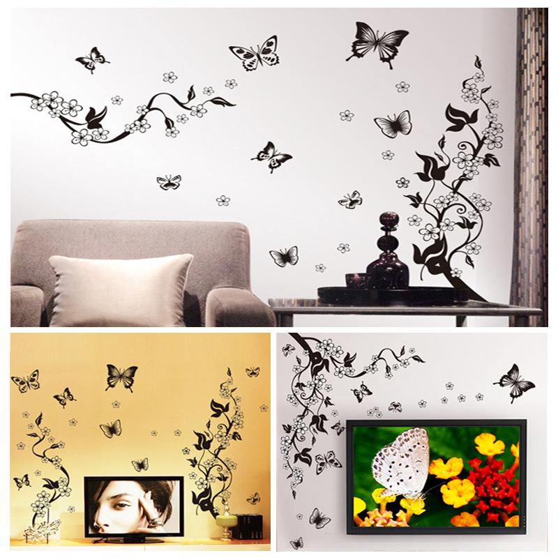 Diy Flower Vine Butterfly Wall Stickers Home Decor Art