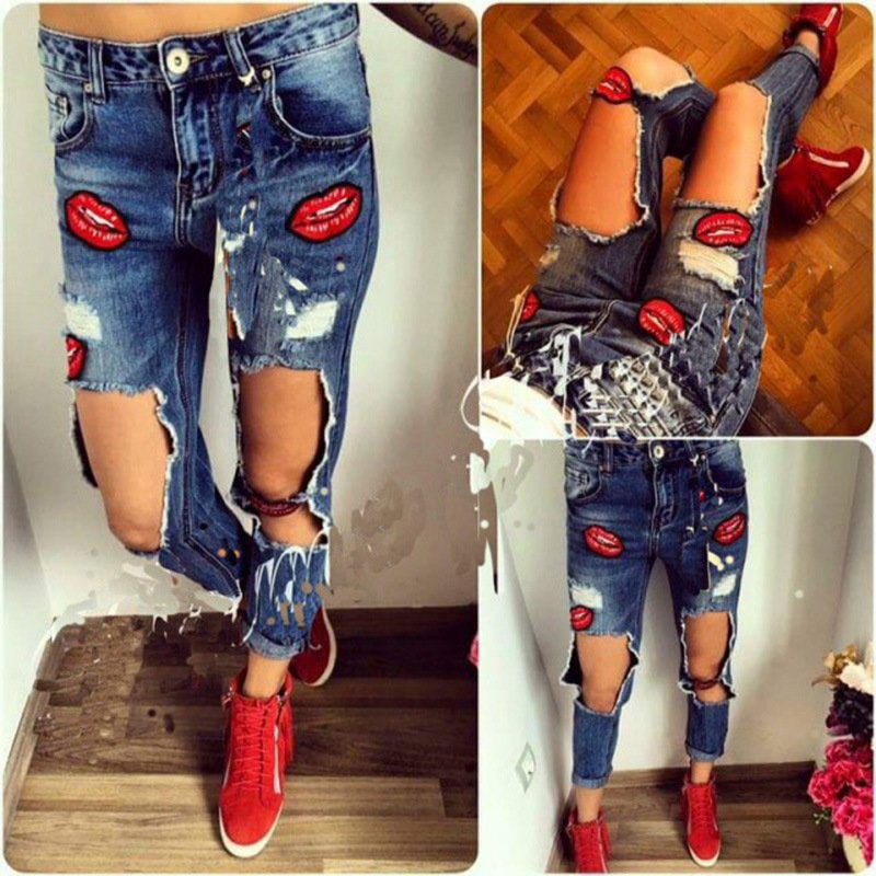 American Clothing 2016 women hand with the bore hole frayed jeans pants tide beggar pants ripped jeans lips Karthus(China (Mainland))