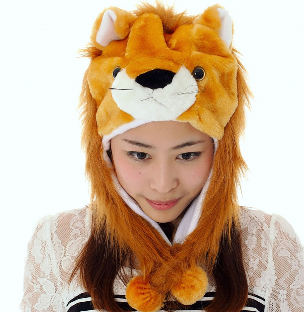 New Fashion Cute Plush Brown Lion Animal Hat with Ears for Teenagers Winter Hats Children Gift Free Shipping(China (Mainland))