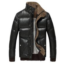 Thick Warm Winter Genuine Leather Jacket Men Brand Clothing Mandarin Collar Long Sleeve Plus Size Sheepskin Leather Jacket Coat(China (Mainland))