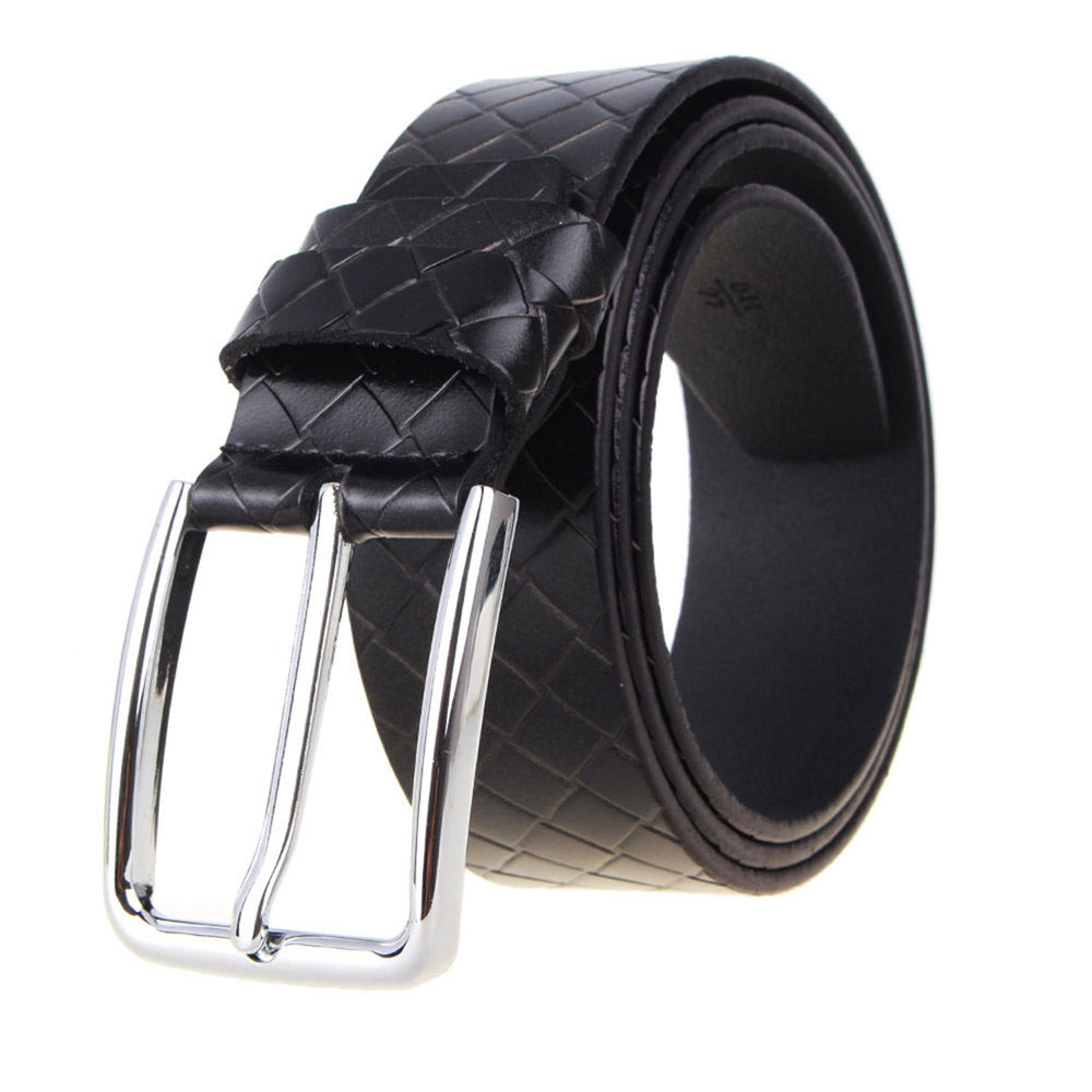 2016 Men's Luxury Belts Braided Cowhide Designers Casual Pin Homme Belt Simple Fashion Business Fashion Leather Male Strap Black(China (Mainland))