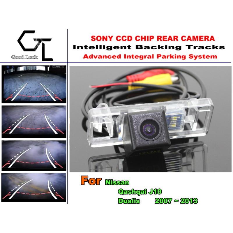 Car Electronic Rear View Camera For Nissan Qashqai J10 Dualis 2007 ~ 2013 License Plate Lamp Integrative Dynamic Path(China (Mainland))