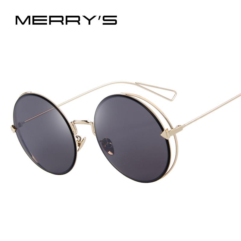 MERRY'S Women Retro Round Sunglasses Classic Brand Designer Sunglasses Coating Mirror Flat Panel Lens S'8016(China (Mainland))
