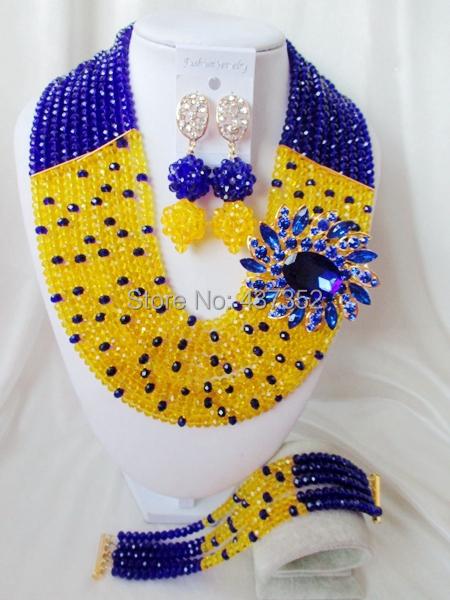 Fashion Royal Blue and Yellow crystal necklaces set costume jewellry nigerian wedding african beads jewelry set ABC229(China (Mainland))