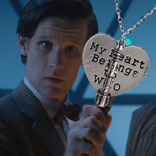 Trendy Television Doctor Who Style Chain Pendant Necklaces My Heart Belongs To Who Necklace Women Movie Jewelry Accessories