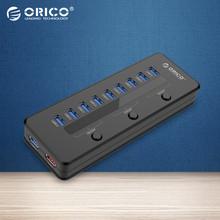 ORICO H10C1-U3-BK Super Speed USB 3.0 10 Portas 5V2. 1A Inteligente de Carregamento HUB com 3 Switch e Adaptador de Energia-preto(China (Mainland))