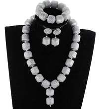 Latest Silver African Beads Wedding Jewelry Set Handmade Red Flower Pendant Necklace Women Jewelry Set Bride Jewelry Set HXO2201(China)