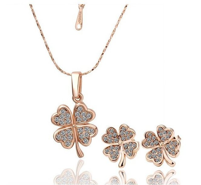 18KS004 18K Gold Plated Four Leaf Clover Necklace Earring Wedding Sets Nickel Free Golden Austrian Crystal  Element