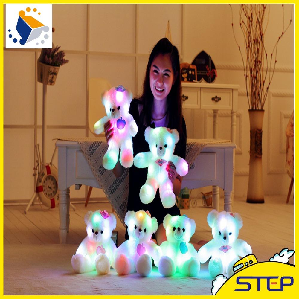2016 High Quality LED Night Light Luminous Teddy Bear Cute Shining Bear Plush Toys Baby Toys Birthday Gifts Valentines ST133(China (Mainland))
