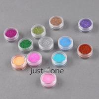 к 2015 году новых 12 цветов в 1 набор блестящий блеск ногтей порошок Арт советы макияж пыли украшение