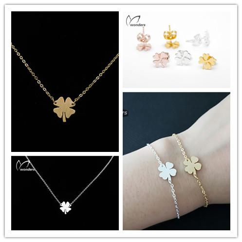 2015 Delicate Metal Stainless Steel Charms Shamrock Clover Necklace Earrings Bracelet Gold Silver For Women Men Girl Bff Gift