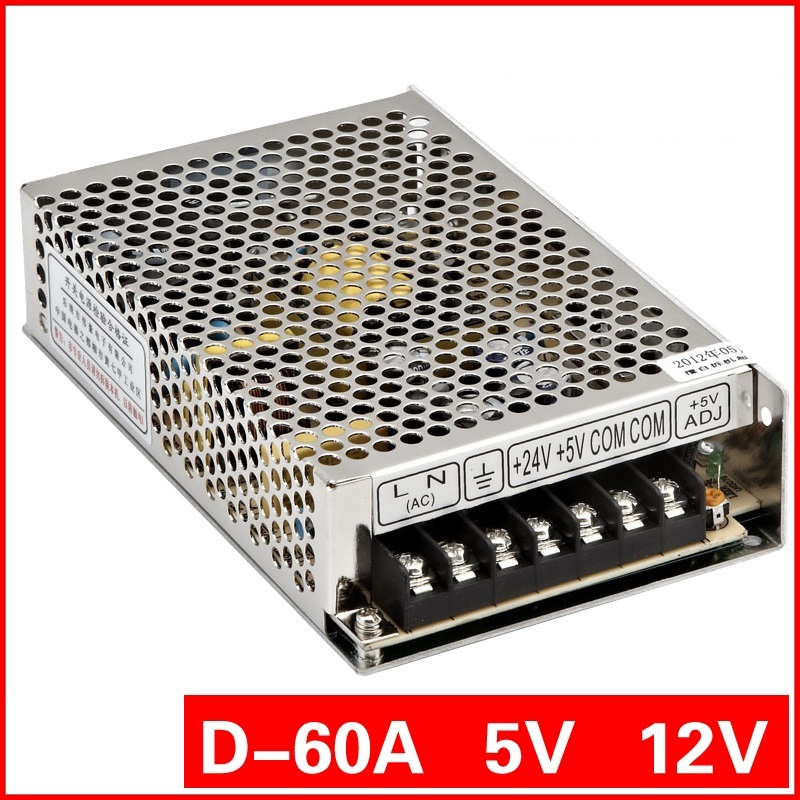 D-60A Dual output Series D-60W 5V/12V LED Light Devices Switching Power Supply output CE and ROHS(China (Mainland))