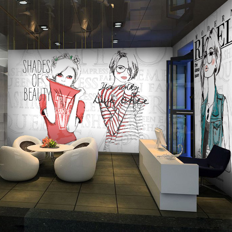 Free shipping PVC English graffiti girl fashion perfume shop mall clothing store large mural wallpaper Restaurants Custom sizes(China (Mainland))