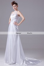 Wholesale Wedding Dress A line Halter Strapless Satin Beading Floor length Train Custom made Plus size WD65740(China (Mainland))