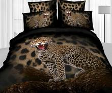 3D Leopard animal print comforter bedding set queen size duvet cover bedspread bed in a bag sheets quilt bedroom cotton painting(China (Mainland))