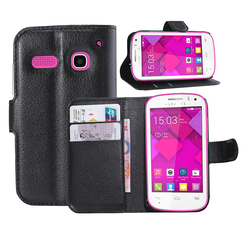 For One Touch Pop C5 case Litchi texture PU Leather Flip Case For Alcatel Pop C5 OT5036D Wallet style Phone Case(China (Mainland))