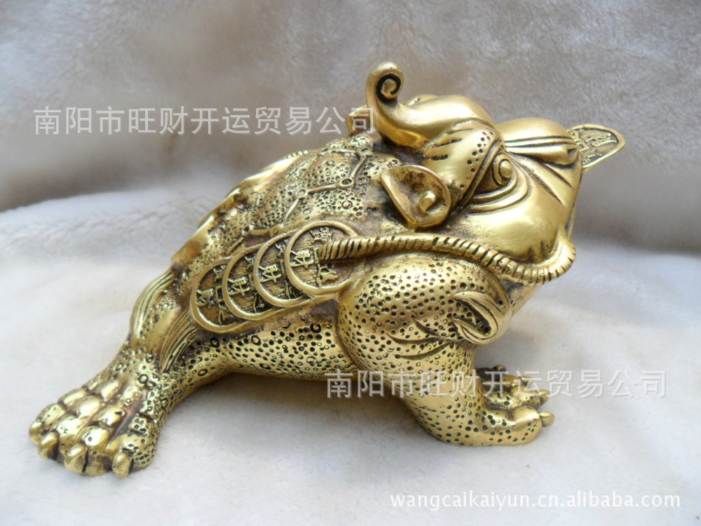 A pure brass gold toad seven Jinchan Zhaocai Zhaocai Wangcai craft ornaments toad mouth big money(China (Mainland))