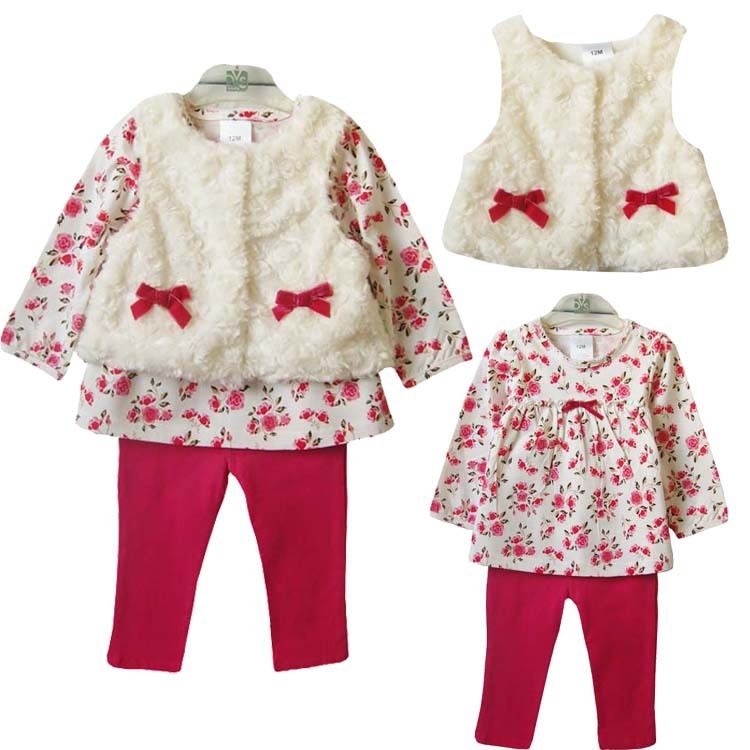 manufacturer Baby girls clothes set Retail 2015 spring autumn winter bebe clothing sets vest two-pieces suit set free shipping 1(China (Mainland))