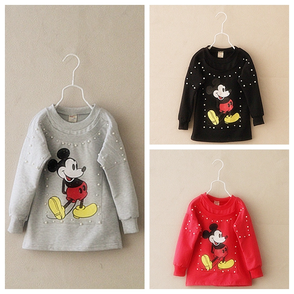2015 Autumn Children girls boys Beads cartoon cotton printing long sleeve t-shirts childrens lovely t shirts tees tops clothes(China (Mainland))