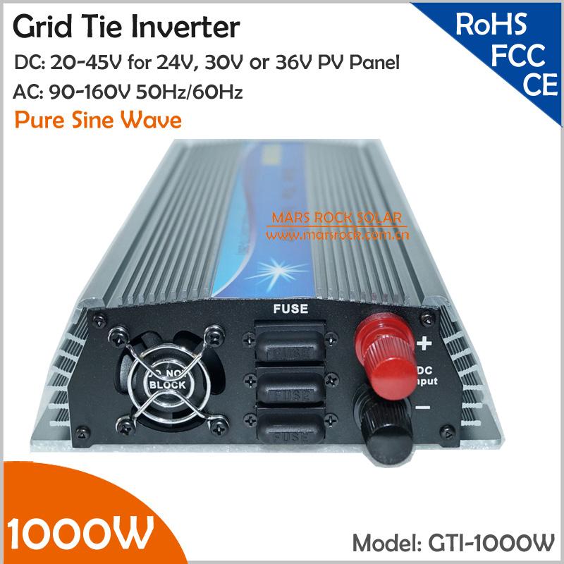 1000W 36V Grid Tie Inverter, 20-45V DC to AC 90-140V Pure Sine Wave Inverter for 1000-1200W 36V PV module and Wind Turbine(China (Mainland))