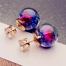 Buy IMIXLOT New Fashion Double Sided Glass Stud Earrings Flower Crystals Inside Summer Style Women Pusety Earring Jewelry for $1.47 in AliExpress store