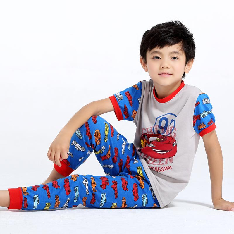 cheap short sleeve pants set cartoon boys clothes pajamas car pjs kids sleepwear knitted suits toddler clothes nightwear costume(China (Mainland))