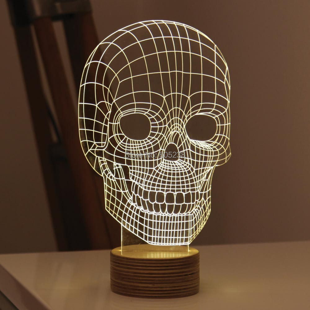 5 pieces / lot 3D Wood Skull Mood Lamp Bulbing Light Micro USB Table Lamp<br><br>Aliexpress