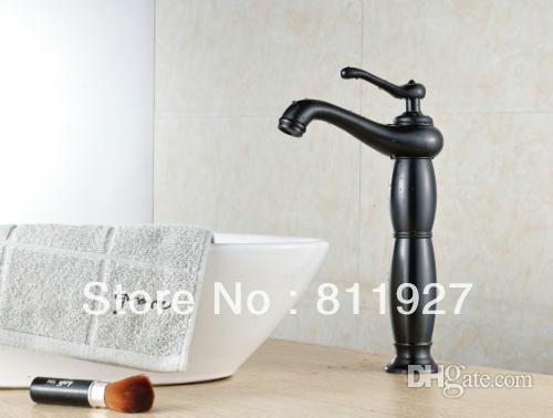 NEW arrival style beautiful artistic oil rubbed bronze black color orb tall high wash basin hands faucet mixer tap CE approved t(China (Mainland))