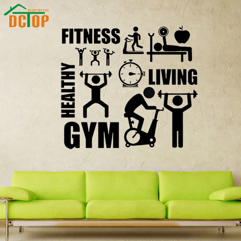 DCTOP Removable Vinyl Wall Stickers Home Decor Fitness GYM Healthy Sports Wall Decor Home Decals Living Room Decoration(China (Mainland))