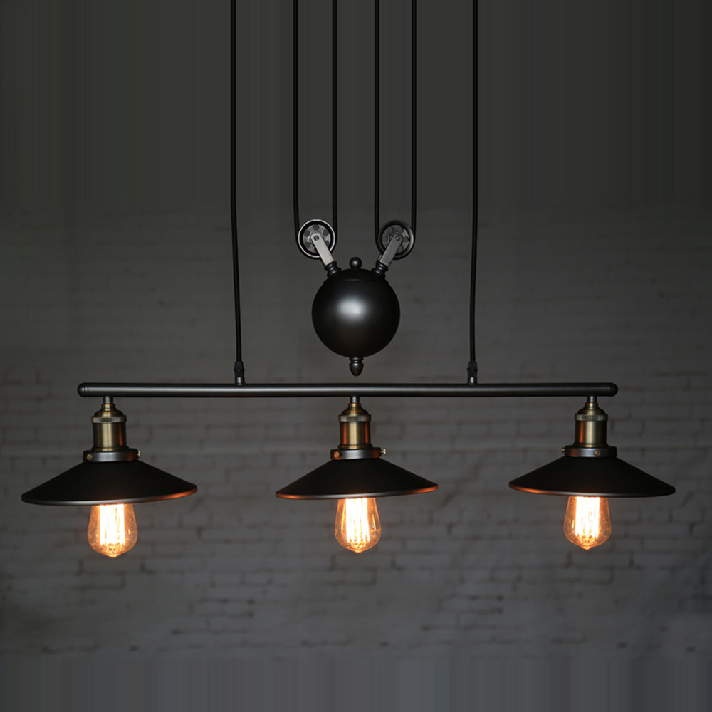 Industrial country creative pulley design black iron hang for Dining room 3 pendant lights