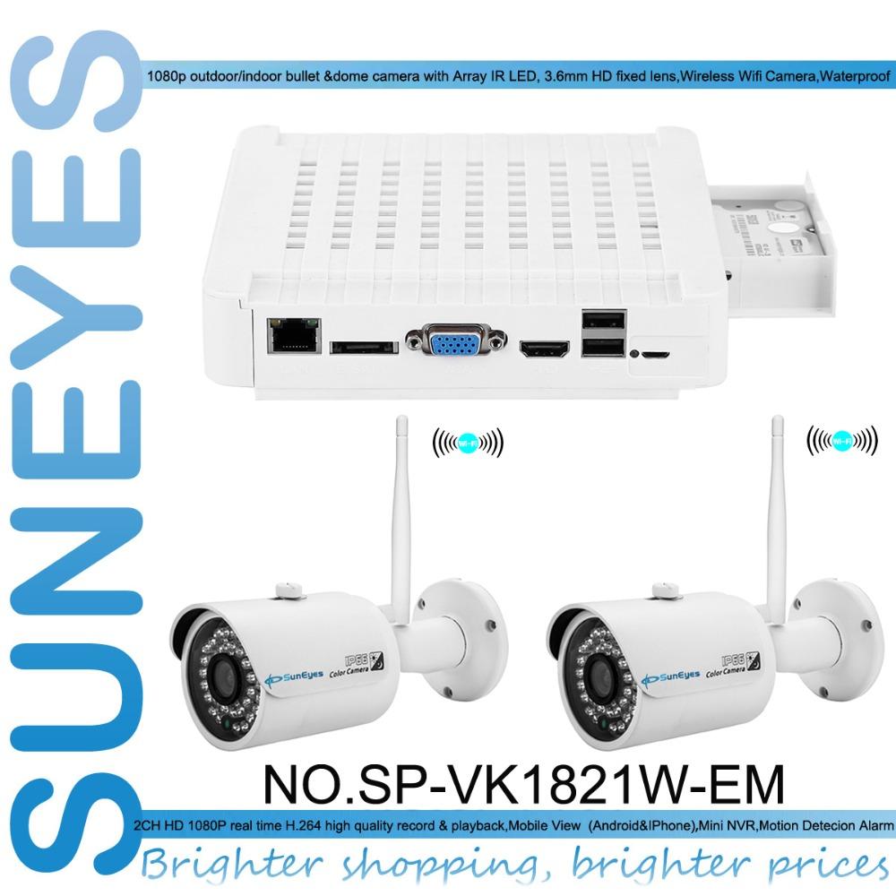 SunEyes SP-VK1821W-EM 1080P Full HD 2CH IP CCTV Camera Kit with Two Pcs Wireless Wifi Mini IR Outdoor IP Camera 1080P HD(China (Mainland))