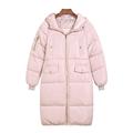 winter women warm solid long warm coats candy color Splice plus size long Hooded jacket cotton