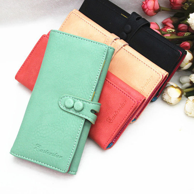 Trendy Long Design Twill Women Girls Purse Paper Money Coins Cards Telephone Bag Capacity Wallets 5 Colors BG-0412\br(China (Mainland))