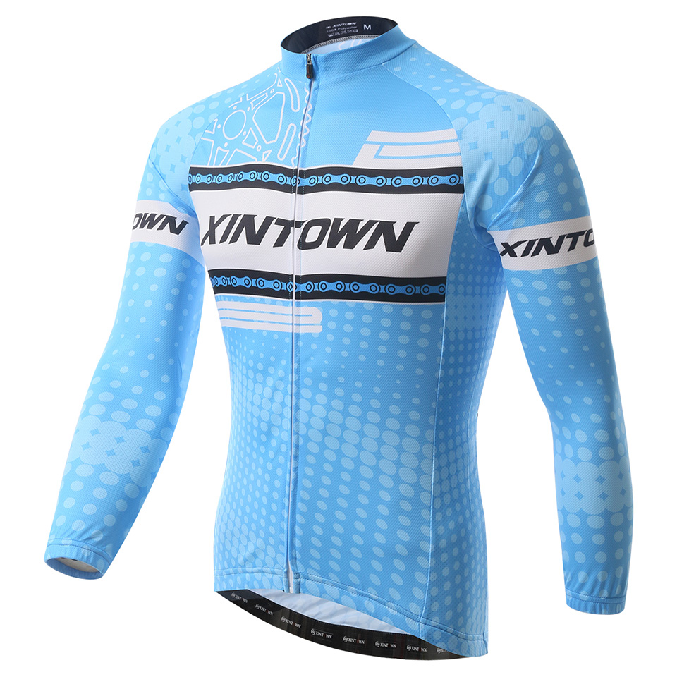 2015 Men Cycling Jerseys Long Sleeve Autumn Spring Reflective Blue High Quality XINTOWN Chain Design<br><br>Aliexpress
