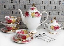 Bone china coffee fashion tea set ceramic black tea cups coffee set