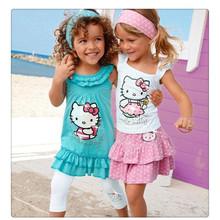 Summer Baby Girl Suits Girls Cotton 3Pcs Sets Headband+Dress+Pants Children Clothing Set Kids Fashion Set 2-8Yrs 10F(China (Mainland))