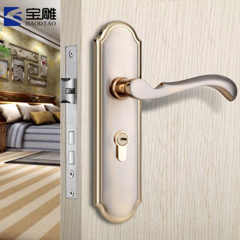 Baodiao mute mechanical locks bedroom door handle lock European indoor room door three-piece suit(China (Mainland))