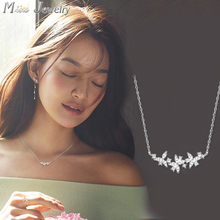 New Arrival Drop Supply 925 Sterling Silver Necklaces Crystal Flower Pendants&Necklaces Jewelry Collar Colar
