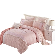 4PCS Combed Cotton 3D Embroideries Bedding Set Queen King Size Bedclothes Pillowcase Bedsheet Duvet Cover(China (Mainland))
