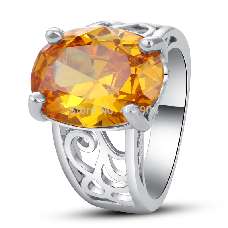 Dazzling 12*16mm Oval Cut Citrine 925 Silver Ring Romantic Love Style Jewelry Unisex Rings Wholesale(China (Mainland))