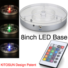 "Koyal 8"" Centerpiece Light Base E-Maxi with 1pc High Power RGBW LED Light, Remote Controlled Multi-Colored/Color-Changing(China (Mainland))"